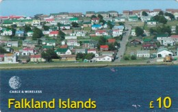Falkland Islands, £10, Panorama View Of Stanley, Puzzle 08 Of 16, Only 2.500 Issued, 2 Scans - Falkland Islands