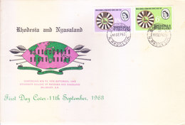 RHODESIA & NYASALAND FIRST DAY COVER - 11-09-1963 - CONFERENCE, UNIVERSITY COLLEGE OF RHODESIA & NYASALAND, SALISBURY - Rhodesia & Nyasaland (1954-1963)