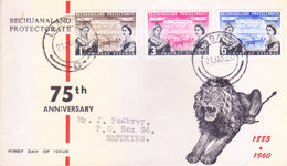 BECHUANALAND PROTECTORATE - 21-01-1960 OFFICIAL FIRST DAY COVER ISSUED FROM LABATSI - 75TH ANNIVERSARY - Bechuanaland (...-1966)