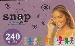 GHANA - Girl On Phone, Spacefon Prepaid Card 240 Units(thin), Used - Ghana