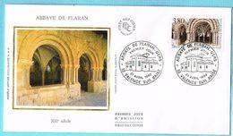 FDC Enveloppe Premier Jour 21/04/1990 Valence Sur Baise - Abbaye De Flaran - 1990-1999