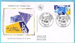 FDC Enveloppe Premier Jour 17/03/1990 PARIS - Journée Du Timbre (2.30+0.60 Jaune Et Bleu) - 1990-1999