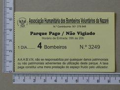 PORTUGAL - BILHETE ESTACIONAMENTO BOMBEIROS DA NAZARE - (Nº18733) - Autres