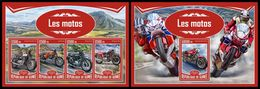GUINEA 2017 - Motorcycles. M/S + S/S. Official Issue - Motorbikes