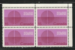 CANADA 1970 SCOTT 514** CORNER BLOCK - Unused Stamps