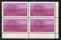 CANADA 1970 SCOTT 514** CORNER BLOCK - Ongebruikt
