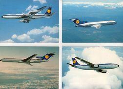 Lot De 7 Cartes Lufthansa : B727, A300, B707, B727, DC10, B747, Aterrissage - 1946-....: Moderne
