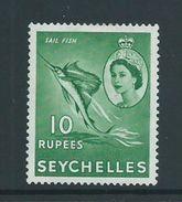 Seychelles 1954 QEII Definitive 10R Sail Fish Top Value MLH - Seychelles (...-1976)