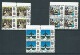 Seychelles 1971 Surcharge On History Definitives Set Of 3 In Marginal Blocks Of 4 MNH - Seychelles (...-1976)