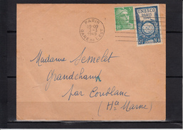 Secap 7.L.D.  Sur Lettre De PARIS GARE De L'EST  3 3 1949  Mne De GANDON + Timbre UNESCO 10f  Pour GRANDCHAMP Hte Marne - Mechanical Postmarks (Other)