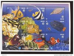NEVIS   1093 MINT NEVER HINGED MINI SHEET OF FISH-MARINE LIFE - Meereswelt