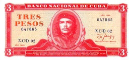 CARIBBEAN CARIBE 3 PesoS 1988 REMPLAZO (XCD 02) CHE  UNCIRCULATED , SCARCE AUTHENTIC AND RARE - Cuba