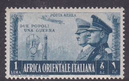 Italy-Colonies And Territories-Italian Eastern Africa AP21 1941 Air Post 1 Lira Blue Gray MH - General Issues