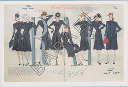 Publicité Sur Carte Postale - ''Marie Claire'' - Le Bleu RAF (JL. Charmet - 8 Mars 1940) - Publicité