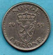 C1/ NORWAY / NORVEGE  1 KRONE 1955 KM#397 - Norvège