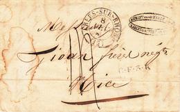 LAC Avec TàD ARLES-SUR-RHONE Du 8 OCT 1835 + Timbre C.F.3.R. + Taxe Manuscrite 14 Adressée à Nice - 1849-1876: Klassik