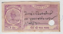 KARAULI  State  8A  Court Fee  Type 20  K&M 256   #  99799 Inde Indien  India Fiscaux Fiscal Revenue - Indien