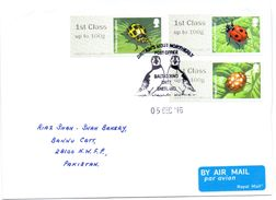 2016 UK TO PAKISTAN COVER WITH INSECT STAMPS BIRD CANCELLATION, - Insects