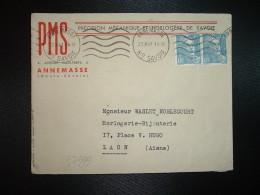 LETTRE TP MARIANNE DE GANDON 4F50 X2 OBL.MEC.22 X 47 ANNEMASSE (74 HAUTE-SAVOIE) PMS PRECISION MECANIQUE ET HORLOGERE DE - Marcophilie (Lettres)