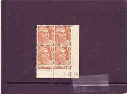 N° 808- 4,00F Marianne De GANDON - A De A+B - 1° Tirage Du 29.11.48 Au 13.12.48 - 1.12.1948 - - Coins Datés