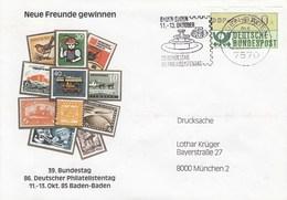 Brief 1 Automarkenmarken 50 Pf - Neue Freunde Gewinne - 39 Bundestag - 86.Deutscher Philatelistentag 85, Baden-Baden - Briefe U. Dokumente
