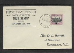 Niue 2 SEP  1940, First Day Cover, 3d Surcharge - Niue
