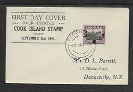 Cook Islands RAROTONGA 2 SEP  1940, First Day Cover, 3d Surcharge - Cook Islands