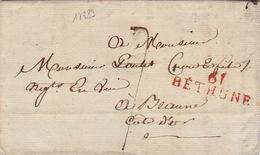 17883# 61 BETHUNE 39*12mm ROUGE Datée De HOUDAIN 1820 PAS DE CALAIS ARTOIS Pour BEAUNE COTE D'OR LETTRE - Marcophilie (Lettres)