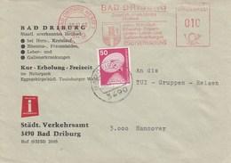 Brief:  Bad Driburg - Städt. Verkehrsamt  3490 Bad Driburg - Poststempel - Freistempel