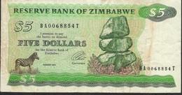 ZIMBABWE P2e 5 DOLLARS 1994 Signature 3 TYPE B FINE NO P.h. ! - Zimbabwe
