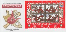 Enveloppe  FDC  1er  Jour    TONGA   NIUAFO ' OU    Bloc  Feuillet    Année  Du  Serpent   2001 - Tonga (1970-...)