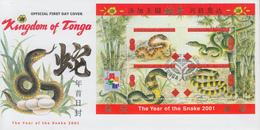 Enveloppe  FDC  1er  Jour    TONGA     Bloc  Feuillet    Année  Du  Serpent   1980 - Tonga (1970-...)