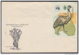 1984-FDC-32 CUBA. FDC. 1984. EXPO FILATELICA AUSIPEX. AUSTRALIA. EMU. ANIMALES. ANIMALS. - FDC