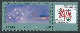 1998 - ITALIA - GIORNATA DEI DIRITTI DELL'UOMO / DAY OF MAN'S RIGHTS. CONGIUNTA ONU GINEVRA / JOINT WITH UNO GENEVA. MNH - Emissioni Congiunte