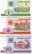 BELARUS 1 5 10 PУБЛЁЎ (RUBLES) 2000 P-21a-23a UNC [BY121a-123a] - Belarus