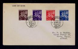 """Exp.Fil.Portuguesa 44"" Cover Set 1948-03-31 Last Day Pmk Horta Azores Courrier Mail Horses History Post Portugal Sp4596 - Post"