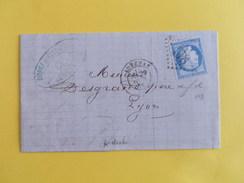 CERES DENTELE 60 SUR LETTRE DE AUBENAS A LYON DU 29 AVRIL 1875 (GROS CHIFFRE 198) - Marcophilie (Lettres)