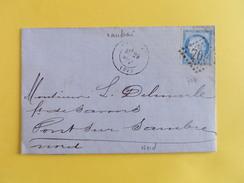 CERES DENTELE 60 SUR LETTRE DE CAMBRAI A PONT SUR SAMBRE DU 29 SEPTEMBRE 1871 (GROS CHIFFRE 709) - Marcophilie (Lettres)