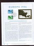 Belgie Herdenkingskaart 1986 2211/12 EUROPA CEPT Fish Environment 4 Kaarten Kunstblad - Cartas Commemorativas