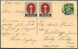 1931 Denmark Baekkeskov Praesto Postcard, Kirkens Korsaer Charity Staunstrup UDS - Covers & Documents