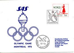 Norway SAS Flight Cover Olympic Games Montreal 1976 13-7-1976 - Summer 1976: Montreal