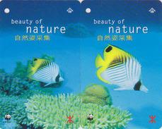 PUZZLE De  2  Télécartes HONG KONG - WWF - ANIMAL - POISSON DE CORAIL - CORAL FISH Phonecards - 592 - Puzzles
