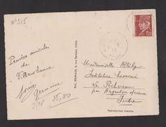 FRANCE / 1941 / Y&T N° 515 : Pétain 1.20F Brun-rouge - Seul Sur CP Du 26/08/1943 (Lyon Palais De Justice & Fourvières) - 1921-1960: Modern Period