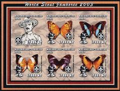 Mint Stamps In Miniature Sheet Imperforate Scouts  Butterflies 2002  From Mozambique - Padvinderij