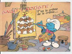 """Les Schtroumpfs De Peyo. """"Salut L'Artiste"""" . Schtroumpf Et Peinture De Baba Au Schtroumpf. - Johan Et Pirlouit"""