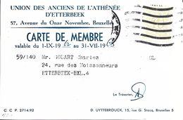 Bruxelles (1040) - Enseignement : Carte De Membre De L'Union Des Anciens De L'Athénée D'Etterbeek, Av. Du 11 Novembre. - Etterbeek