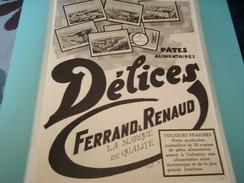 ANCIENNE PUBLICITE PATES ALIMENTAIRES DELICES DE FERRANT RENAUD USINE MOULIN - Posters