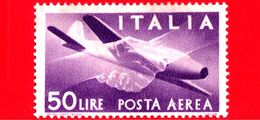 Nuovo - MNH - ITALIA - 1957 - Democratica, Posta Aerea - 50 L. - Stretta Di Mano, Caproni-Campini 1 - Filigrana Stelle - 6. 1946-.. Repubblica