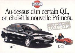 Carte à Pub NISSAN Nouvelle Primera Singe Voiture Automobile - Publicité