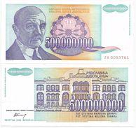 Yugoslavia 500.000.000 Dinara 1993. P-134 ZA Replacement - Jugoslavia